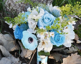handmade artificial flower vintage bridal bouquet white blue anemone rose lily