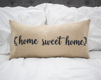 Home Sweet Home lumbar pillow cover, farmhouse style,12x24 pillow cover, burlap pillow cover, fabric pillow cover * Free Shipping*