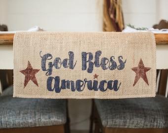God Bless America burlap Table Runner, AmericanaTable Runner, Patriotic table runner, country Star Table Runner, Stars, *Free Shipping*