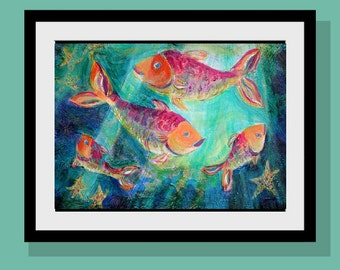 Four Fish Swimming Art Print   10 x 14 Limited Edition - Kids Wall Art  - Beach Wall Decor - Tropical Fish - Happy Family