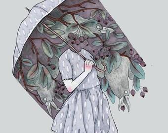 Blue Umbrella Print