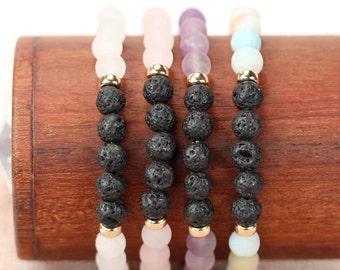 Diffuser bracelets - energy bracelets - healing stone bracelets - stacking bracelets - stretch bracelets