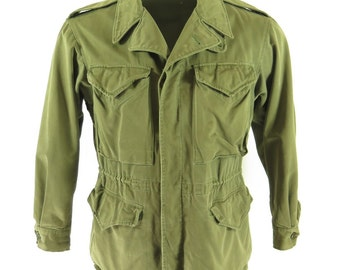 Vintage 40s WWII Era USA Military M-1943 Field Jacket Mens 34 Short [H27E_2-11]