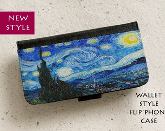 iPhone Case (all models) - Van Gogh Starry Night painting - Wallet style flip case -  Samsung Galaxy S4,S5,S6,S7Edge,Note5,S8 & more