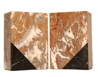 Art Deco Bookends, Marble Bookends, Art Deco Marble Bookends, Art Deco Marble Geometric Bookends, Modern Marble Bookends, Office Decor