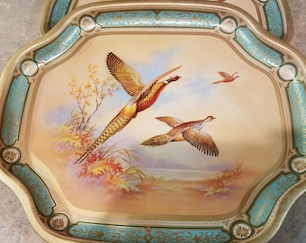Vintage Baret Game Pheasants Snack Trays No. 150 B. W. Co. Made in England