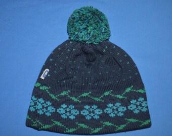80s Blue Snowflake Bobble Women's Winter Hat