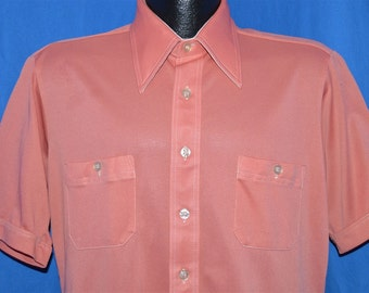 70s Double Action Pink Disco Shirt Large