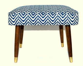 SOLD Upcycled Mid Century Modern Footstool in Cobalt Navy Stone Chevron Fabric