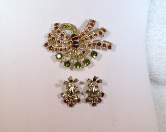 Green and Brown Brooch and Earrings