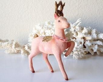 Vintage pink flocked reindeer retro gold glitter deer figurine christmas decoration