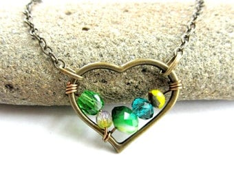 Shades of Green Beaded Heart Necklace, Boho Green Necklace, Lime Forest Kelly Green