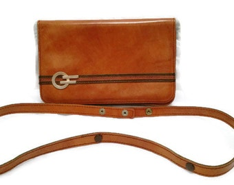 Vintage leather clutch handbag with detachable adjustable strap, brown tan handbag, 70's clutch bag 70's handbag
