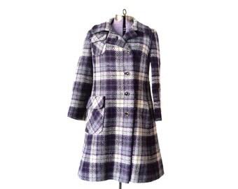 Plaid Coat, Womens Coat, Peacoat,  Purple Coat, Pea Coat,  Medium Coat, Wool Coat, Womens Clothing, Vintage Clothing, 1970s Coat, 70s Coat,