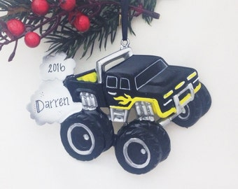 FREE SHIPPING Black and Yellow Monster Truck Personalized Christmas Ornament / Child Ornament / Little Boy Ornament / Toddler Ornament
