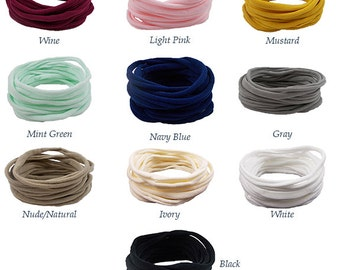 You Pick Colors - One Size Fits All THIN Nylon Headbands - Just the Headband - Craft Supply - HB-NYL