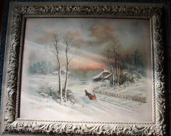 Beautiful Winter Scene 1800's Horse drawn Sleigh Coming Home at Sunset Lithograph 1894 on Wood