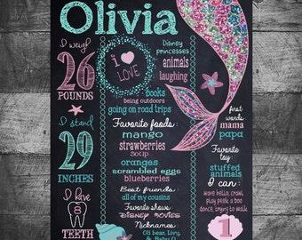 Mermaid birthday sign, Mermaid birthday board, mermaid chalkboard, GLitter, chalkboard,  First Birthday chalk,  Sign poster 16x20 photo prop