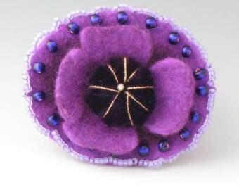 Felted Flower Brooch, Flower Pin, Brooch, Felted Pin, Flower Brooch, Purple Flower Pin