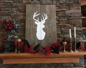 Rustic Deer Head Silhouette Antler Mantle Wood Sign