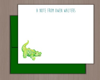 Personalized Note Card Set, Flat Note Cards, Personalized Stationery, Personalized Stationary, Thank you Notes, Alligator, Crocodile, Boys