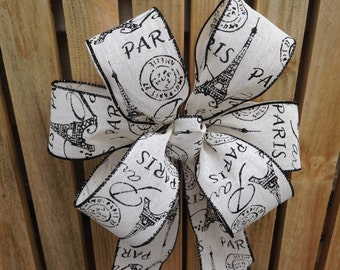 Paris theme wired ribbon bow wreath package decoration, staircase, mantel,  pew bows, buffet table decor wedding Parisian theme