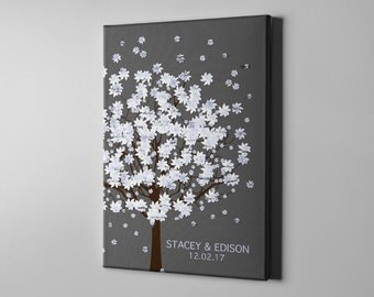 SALE 50% Off Canvas Guest Book, Signature Winter Tree Guest Book Alternative, Customized Wedding Art Poster, Tree Signature GuestBook -CGB48