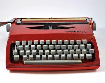 1970 Consul Working Typewriter with Case, Portable Typewriter, Vintage Typewriter, Red Typewriter, Manual Typewriter, Modernist