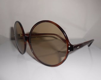 1970's Sunglasses Oversize Jackie O Style Glass Lenses Made In France