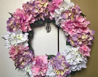 Pink, Purple, and White Hydrangea Wreath
