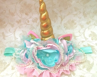 Mint and pink unicorn horn, unicorn headband, couture headband, baby headband, ott bow, over the top bow, mont and pink headband