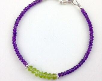 Amethyst Bracelet - Peridot Bracelet - Peridot Jewelry - Amethyst Jewelry - Purple jewelry - minimalist - February birthstone - Napa Vine