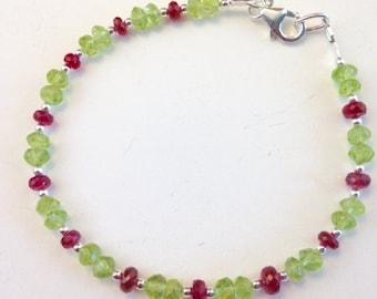 Peridot Bracelet - Peridot Jewelry - Red Spinel Bracelet - Gemstone Bracelet - minimalist jewelry - delicate bracelet - Cranberry