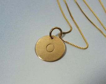 Solid Gold Initial Necklace, Gold Necklace, 11mm Gold Disc Necklace, 14k Gold Disc Necklace, Personalized Necklace, Solid Gold Disc Necklace