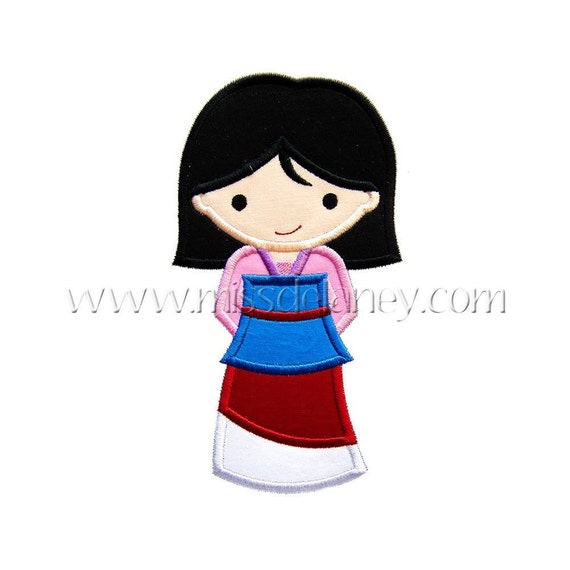 SAMPLE SALE, Princess Mulan- Mulan Inspired Embroidered Shirt - Disney Girls Shirt - Disney Princess Birthday Shirt