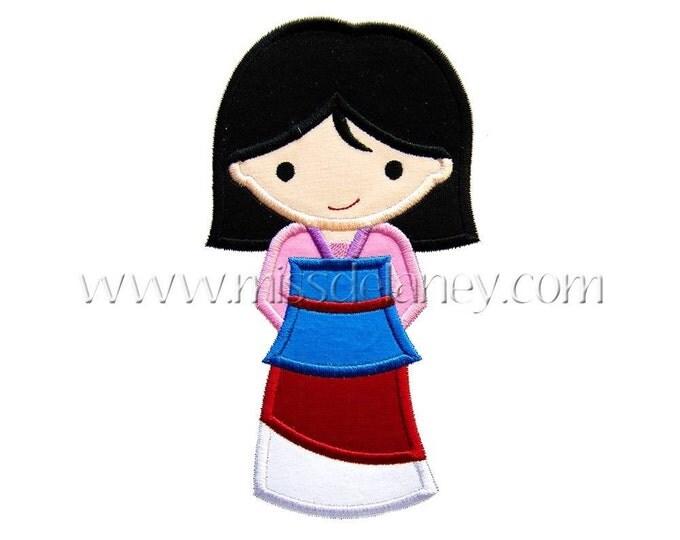 SAMPLE SALE, Princess Mulan- Mulan Inspired Embroidered Shirt - Disney Girls Shirt - Disney Princess Birthday Shirt