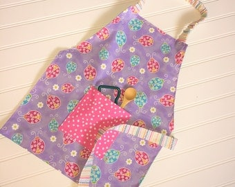 Girls Apron, Kids Apron, Childs Apron, Aprons For Girls, Toddler Apron, Little Girl Gifts, Childs Apron, Dress Up, Play Kitchen