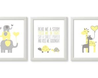 Set of 3 signs, Read me a story, Tuck Me in Tight Print, Neutral Nursery Poster, Yellow Elephant Giraffe Turtle Nursery Decor, DIGITAL FILES