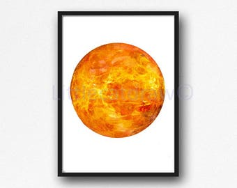 Planet Venus Print Watercolor Planet Solar System Space Art Print Wall Art Astronomy Science Gift Wall Decor Unframed