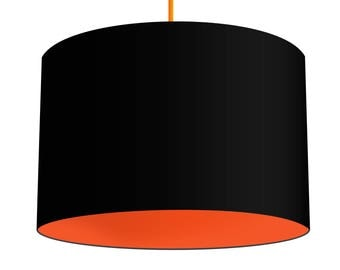 Black Linen Fabric Drum Lampshade With Contrasting Carrot Orange Cotton Lining, Small Lampshade 20cm - Large Lampshade 40cm or Custom Size