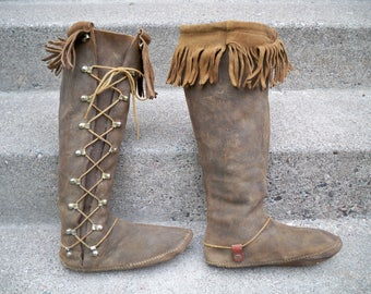 Vintage Handmade Moccasin Brown Leather Shoes Boots Mukluk Festival Renaissance Women's Size 8-8.5 US