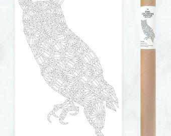 owl coloring poster diamonds, large coloring page, diamonds owl coloring page, gemstones coloring page, gemstones pattern, owl illustration