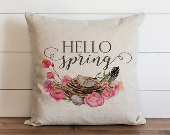 Hello Spring 20 x 20 Pillow Cover // Everyday // Throw Pillow // Gift // Accent // Cushion Cover