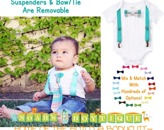 Baby Boy Clothes With Tie and Suspenders - Toddler Boy - Hipster Shirt - Teal Plaid Tie - Spring Outfit - Newborn - Infant - Wedding Outfit