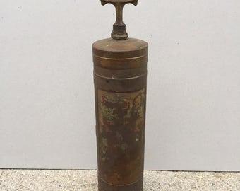 Vintage Fire Gun Brass Extinguisher One Quart