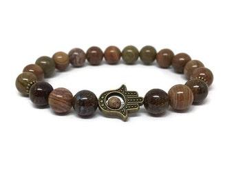 Hamsa bracelet made of natural jasper and bronzite, Mala bracelet