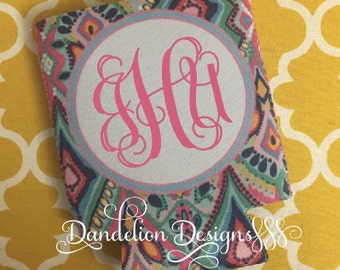 Monogrammed Can Cooler Personalized Paisley Pattern Pink Teal Purple Blue Glitter