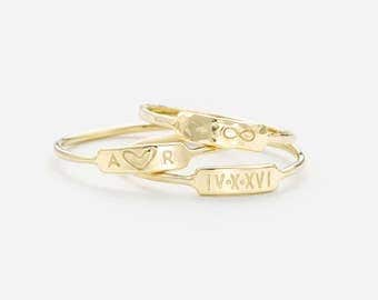 Personalized Bar Ring •  Custom Roman Numerals Ring • Custom Initials Ring • Hand Stamped Name Bar • 14k Gold Fill, Sterling Silver, LR450
