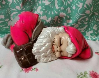 Pink Ceramic Garden Gnome Sleeping