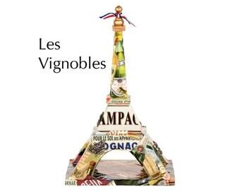 "Eiffel Tower - ""Les Vignobles"" - Decoupage on wood - Mixed media art piece"